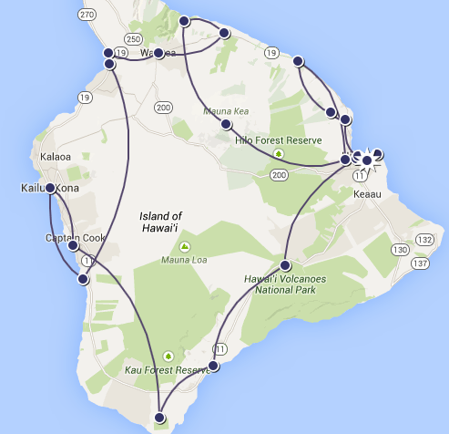 Notre itinéraire sur Big Island, Hawaii - 2010