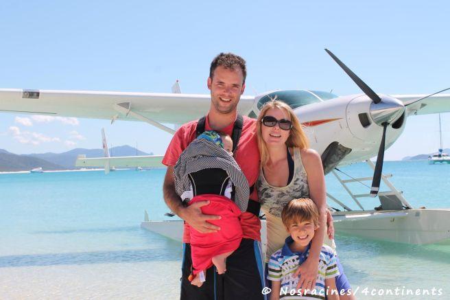 Notre famille à Whitehaven Beach, Whitsunday Island