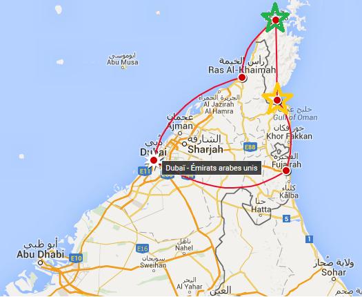 Deux ports pour amorcer une croisière dans la péninsule de Musandam : Khasab (en vert) et Dibba (en jaune)