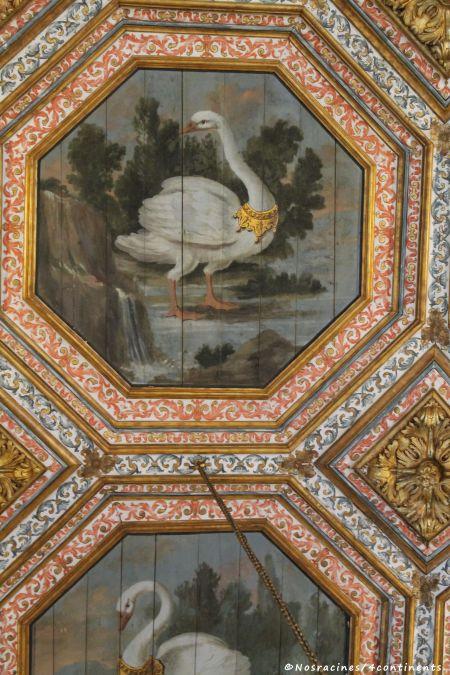 Le motif octogonal qui orne le plafond de la Salle des cygnes, Palais national de Sintra