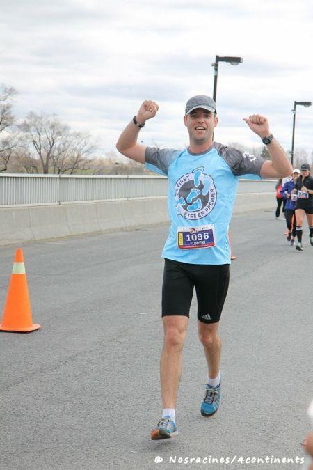 Mon mari lors de son premier demi-marathon afin de recueillir des fonds pour Préma-Québec