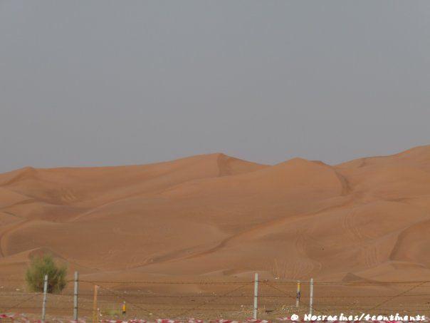 Les dunes de sable passent du beige au rouge...